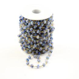 Argentina Cadenas de piedras de aventurina azul pulidas, cuentas de abacus facetadas facetadas para hacer pendientes de bracaelet, 5x8 mm cheap beads abacus Suministro