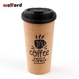 Personalizar tazas de café online-450 ml Taza de café personalizable Pp + madera Viaje Respetuoso con el medio ambiente Diseño de corcho Personalizar Fácil Tomar Bpa gratis Leche Tazas y tazas para el coche Q190524
