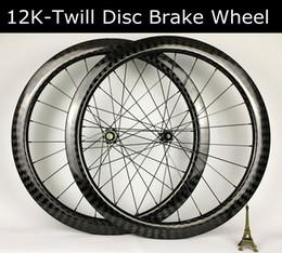 Gewebte fahrradräder online-50mm Tiefe 12K Köperbindung 26m Carbon Laufradsatz Scheibenbremsräder Rennradrad
