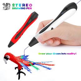 Penne di stampa a schermo online-1.75mm ABS / PLA DIY 3D Pen LED schermo USB ricarica 3D Printing Pen + 20 piedi filamento giocattolo creativo regalo per bambini Compleanni Design