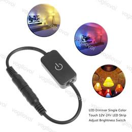 2019 tira de enchufe macho LED Dimmer Touch Switch DC 12V 6A Brillo con DC Hembra Macho Enchufe Para 3528 5050 LED Lámpara de luz de tira Negro / Blanco EUB tira de enchufe macho baratos