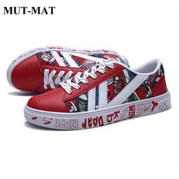 Eleganti scarpe di tela online-Primavera e autunno Graffiti Sneakers uomo su tela Scarpe eleganti da studente maschio Scarpe casual con lacci Scarpe di tela