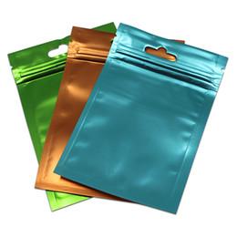 bolsas de regalo de plástico de colores Rebajas Frente De Plástico Transparente Volver Mate Colorido Aluminio Bolsa de Aluminio Zip Lock Paquete Bolsa Joyería Regalos Artesanales Mylar Bolsa de Almacenamiento Agujero Hang