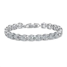2019 платиновые браслеты для мужчин Мода ювелирные изделия подарок белый кристалл кубического циркония мужчины браслет платины покрытием свадьба для женщин Шарм браслеты скидка платиновые браслеты для мужчин