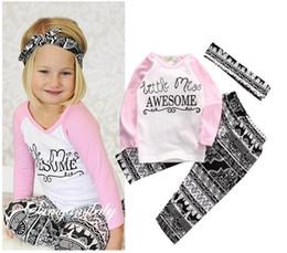 c96c635d2671 Childrens clothes Baby Girls Top T-shirt+ Pants Leggings Headband 3PCS  Outfits Toddler Kids Clothes Set 1-5T