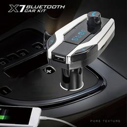 2019 kits de style de voiture Bluetooth X7 Kit Voiture Mains Libres Transmetteur FM Radio Lecteur MP3 USB Chargeur Argent pour Téléphones Car-styling Date Universel promotion kits de style de voiture