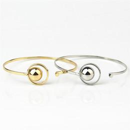2019 braccialetto aperto della sfera Braccialetti semplici aperti del polsino del polsino del polsino di Polished per i monili delle donne braccialetto aperto della sfera economici