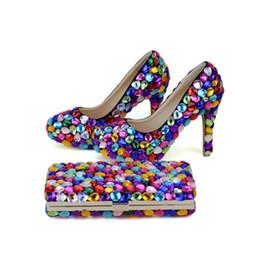 mischen sie spielschuhe Rabatt 2019 Mix Farbe Blau Grün Gelb Lila Hochzeit Party Schuhe mit Kupplung 4 Zoll High Heel Abschlussball Pumps Passende Tasche