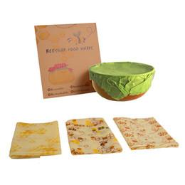 Comida ao ar livre on-line-Reutilizável Food Wrap Camping Cera De Abelha Impressa Wraps Piquenique Ao Ar Livre Biodegradável De Armazenamento Envoltório De Alimentos Frescos Mantendo Cobre Sacos Organizador Da Cozinha