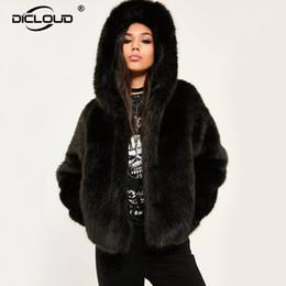 5d56ba05844 Women Winter Hooded Faux Fur Coats Jackets Thicken Warm Outerwear Overcoat  Women Fluffy Fox Fur Jackets 10 Colors Plus Size XXXL