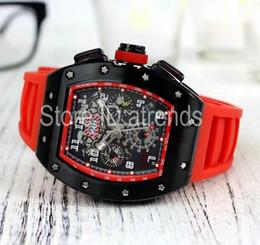 parte superior de la lona Rebajas Top Fashion Automático Mecánico Auto Relojes Hombres Dial Negro Correa de Caucho Cronómetro Día Fecha Reloj Clásico Tonneau Reloj 6062