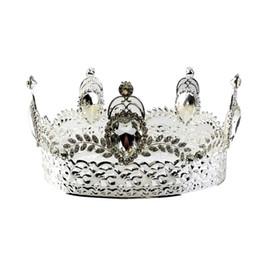 coroas redondas para noivas Desconto Barroco Bridal Crown Tiara De Cristal Noiva Round Headband Tiara De Casamento Completa Acessórios Do Casamento Da Coroa (Prata)