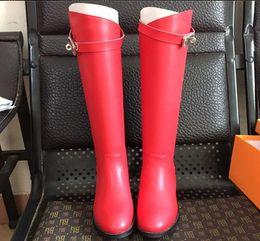 appartements pour l'hiver Promotion Femmes hiver kelly Knight bottes Designer H classique original luxe ins chaud marque de mode sexy OL dames plat serrure chaude en peluche longue Boot