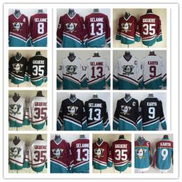 42c46f231 Mens Vintage Anaheim Mighty Ducks Hockey Jerseys 8 Teemu Selanne 9 Paul  Kariya 35 Jean-Sebastien Giguere 13 Selanne 1998 CCM Jersey