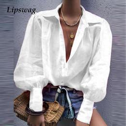 2019 camisas de oficina sexy Lipswag otoño elegante botón de collar con muescas de la blusa de las mujeres de la linterna de la manga larga remata la camisa atractiva femenina Office Lady Trabajo camisas de oficina sexy baratos