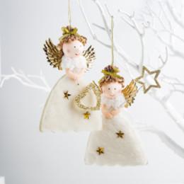 Детские украшения из золота онлайн-Новогодние украшения для дома Gold Lovely Angel Doll Подвеска Ёлочные игрушки Украшения Детские новогодние подарки