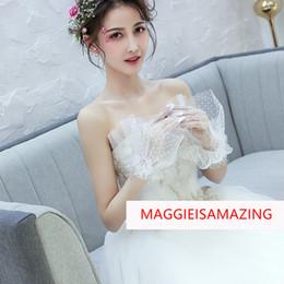 2019 weiße tüllhandschuhe MAGGIEISAMAZING Wholesale ECHTFOTOS Handgelenklänge einfache Tüllapplikation schiere weiße Brauthandschuhe-Brautzubehör XWZ00120 günstig weiße tüllhandschuhe