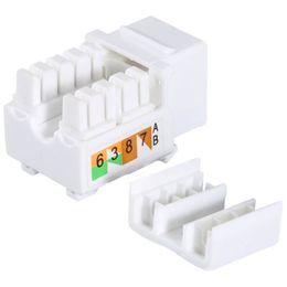 conectores de cable ip68 Rebajas Freeshipping 50 piezas de plástico blanco genérico Cat6 RJ45 Jack Punch-Down Stand Ethernet módulo acoplador