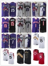 Торонто онлайн-Мужская Торонто 15 Винс Картер Трейси 1 McGrady Throwback Баскетбол Трикотажные изделия Черный Белый фиолетовый красный