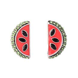 Moda vintage e popolare stile europeo e americano a forma di anguria di cristallo con strass orecchini a perno donne E5461 supplier watermelon earrings da orecchini di anguria fornitori