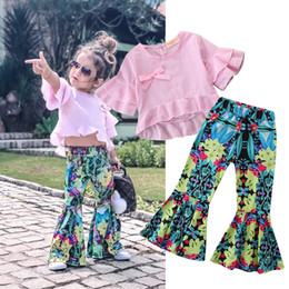 Tuta da tennis rosa online-abiti per bambini vestiti ragazze 2019 camicia a quadri rosa + pantaloni svasati stampati estate a due pezzi tute da pista tute di design completi di abbigliamento
