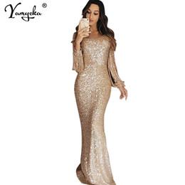 Vestidos de club sexy bling online-2019 nuevo vestido de verano sexy bling de lentejuelas bling maxi partido largo vestido elegante club de noche vestidos de gala robe femme vestidos