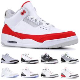 Sneaker di korea online-Nike Air Jordan 3 Retro Uomini Designer Scarpe da basket Tinker Moka Katrina JTH NRG Linea di tiro nero Cemento coreano Pure White Trainer Sport Sneaker Taglia 41-47