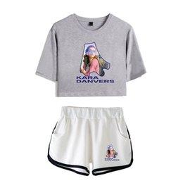 Camisetas de cuero de las mujeres online-Kara Danvers Imprimir camiseta de moda Morning Run - O-Leather, camiseta informal para mujer + Pantalones cortos Conjunto de dos piezas en mezcla de dos colores para mujer