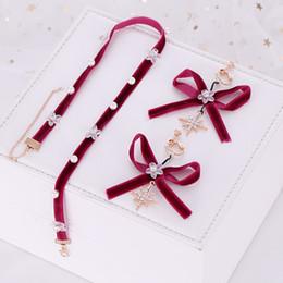 Fiore Rosso FORSEVEN donne bello Incontri Sposa Wedding Party fascia collana e orecchini di goccia di Bowknot Parure da costume di abbigliamento hanfu fornitori