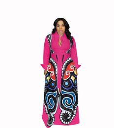 Oscillazioni rosse online-Rosa rosso grande Swing abiti stampa africana Vestiti delle donne Plus Size Sexy elegante farfalla stampa Dress Robe Africaine Design Clothings