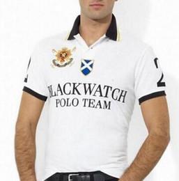 Ajuste clásico de polo online-Nuevo polo de la manera camisa de los hombres Negro reloj clásico del informal personalizada del caballo grande Fit algodón de manga corta del equipo del polo camisetas S-XXL