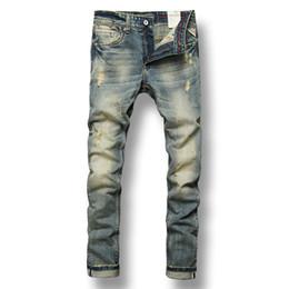 джинсы для стирки Скидка Fashion Streetwear Men Jeans Retro Washed Destroyed Ripped Jeans Men Brand Designer Italian Style Vintage Classical homme