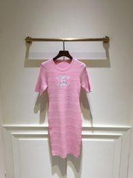 c866997dc8f5 donne abiti rosa Sconti Milano Runway Dress 2019 New Blue   Pink Maniche  corte Knitting Long