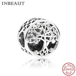 tree flowers Promo Codes - 100% 925 Sterling Silver Family Life Tree Cubic Zirconia Beads fit Pandora Bracelet Tropical Forest Wood Carved Charms Jewelry Making