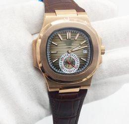 Мужские часы коричневый ремешок онлайн-Оптовые Мужские Часы Nautilus Автоматические Механические Коричневый Кожаный Ремешок Розовое Золото Чехол Коричневый Циферблат Прозрачный Назад Мужские Часы Мужской Наручные Часы