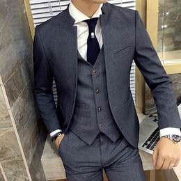 groom s men suit sets Promo Codes - Grey Stand Collar Slim Fit Mens Suit Slim Fit Custom Made Costume Homme Suits Men Formal Grooming Ternos 3 Pieces Suits Set