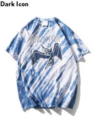 al por mayor led camisetas Rebajas Venta al por mayor Led Zeppellin Rock T-shirt de manga corta Tie Dye Hip Hop camisetas hombres cuello redondo de los hombres camisetas