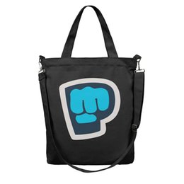 design logos bags Coupons - Women's Fashion Essential Everyday reusable Shopping Bag-Pewdiepie YouTuber Blue Logo Design Canvas Tote Bag Shoulder Bags Black