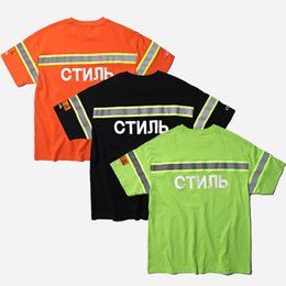 print designs t shirts Promo Codes - Heron Preston Reflective Stripe T-Shirt Unisex Hiphop Clothes Heron Embroidery Logo Short Sleeve Tee Brand Design Club Top CLI0333