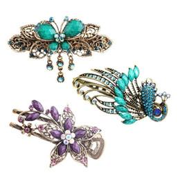 clips rosa china Desconto 3pcs / pack / lot Titular da flor de borboleta clássico elegante Vintage Estilo Chinês Phoenix Grampos de cabelo grampos de cabelo barrette