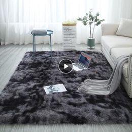 2019 tapis de mousse baie chambre européenne de la mode des cheveux longs tapis de chevet fenêtre tapis de couverture lavable personnalité couleur dégradé vivant tapis de chambre