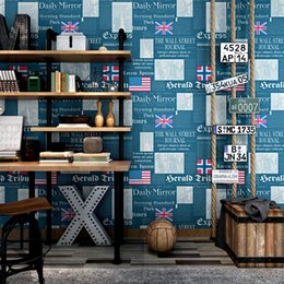 shop country kitchen Coupons - Vintage old newspaper wallpaper fashion shop decoration barber shop study personality English letter flag wall mural household