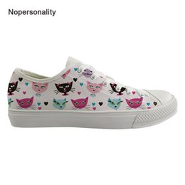Zapatos planos mujer gato online-Nopersonalidad Cute Kitty Cat Low Top Canvas Shoes White Breathable Women Ladies Spring Autumn Flats Classic Canvas Sneakers