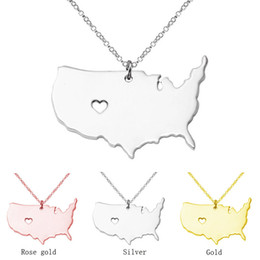2019 fascini dello stato degli stati uniti Collana con mappa dello stato degli Stati Uniti Cuore di amore in oro rosa Mappa con mappa dello stato degli Stati Uniti Pendenti Collane Gioielli con ciondolo Collana in acciaio inossidabile oro fascini dello stato degli stati uniti economici