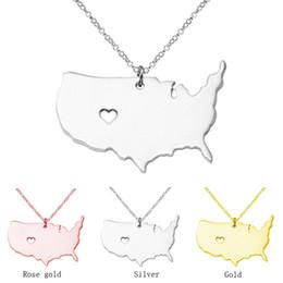 2020 usa staatcharme US State Karte Halskette Rose Gold Love Heart USA State Geographie Karte Anhänger Halsketten Charm Schmuck Gold Edelstahl Halskette günstig usa staatcharme