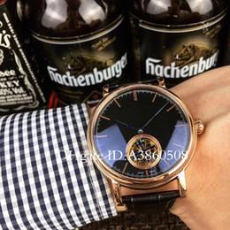 2019 relógio mecânico Homens de alta Qualidade Relógio de Negócios Automático 42mm Mecânica Tourbillon Relógios dos homens Sapphire Vidro Pulseira De Couro Fecho Original relógio mecânico barato