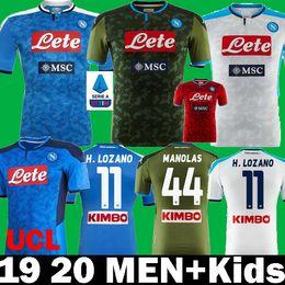 Maillot de football napoli mertens en Ligne-2019 2020 SSC Napoli Hirving Lozano Manolas INSIGNE HAMSIK Maillots de football 19 20 Naples KOULIBAL de football MERTENS enfants Chemises
