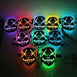i crani si illuminano Sconti LED Light Up Maschera di Halloween Glow In Dark Spavent Skull Face Mask Masquerade Mask Festival Festival Party Costume Cosplay Regalo di Halloween VT0380