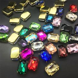 2019 coudre des strass à griffes TopStone 10x14 18x25 13x18 mm Rectangle Verre Cristal Fantaisie Pierre En Or Griffe Réglage Coudre Sur Strass Bijoux Perles coudre des strass à griffes pas cher