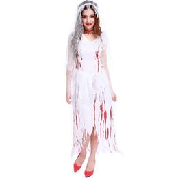 f802040a84 Halloween Sexy Horrible Fantasma Novia Zombie Cosplay Disfraz Espectáculo  Vampire Devil Women Ghosts Juego Uniformes Vestido largo Trajes adulto